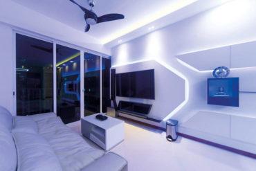 A dual-key executive apartment with futuristic design features
