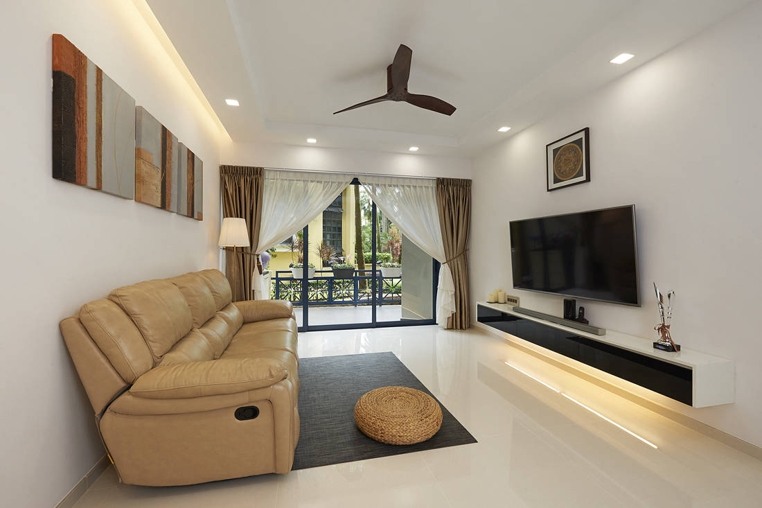 AC Vision neutral clean-lined home condominium with large balony