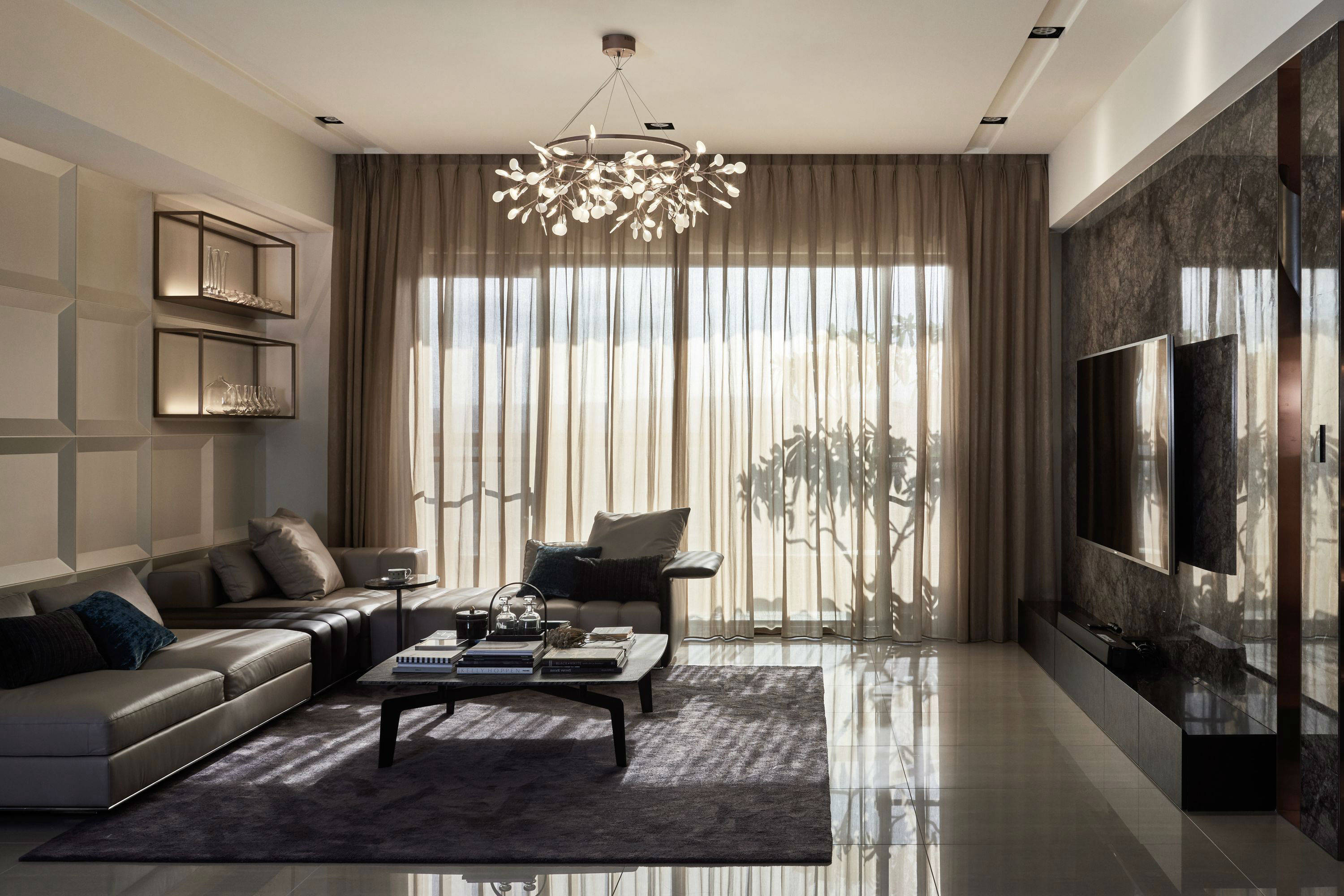 A Luxury Apartment In Taiwan Makes A Statement In Marble