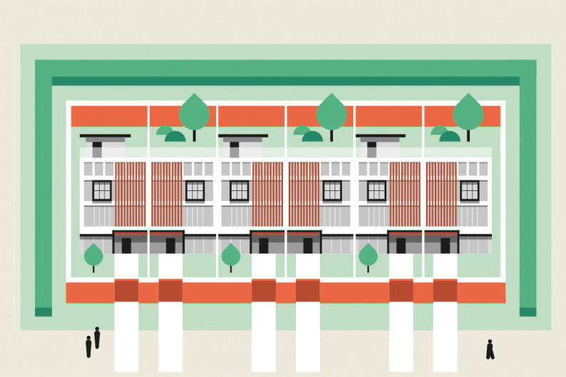 Terrace house illustration