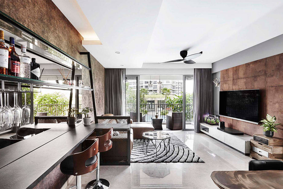 stylish apartment in marble, wood and concrete designed by Design Zage