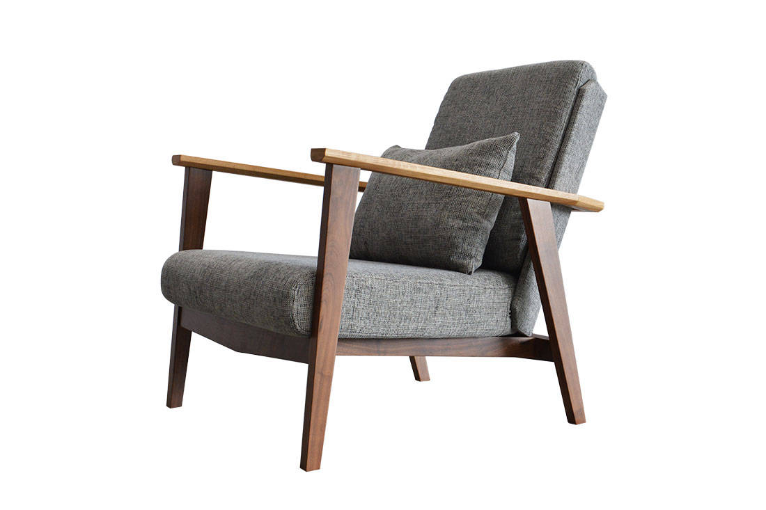 Clean exposed lines of oak and walnut wood are used to design an elegant understated seater its available in 3 seater and 1 seater options with grey or