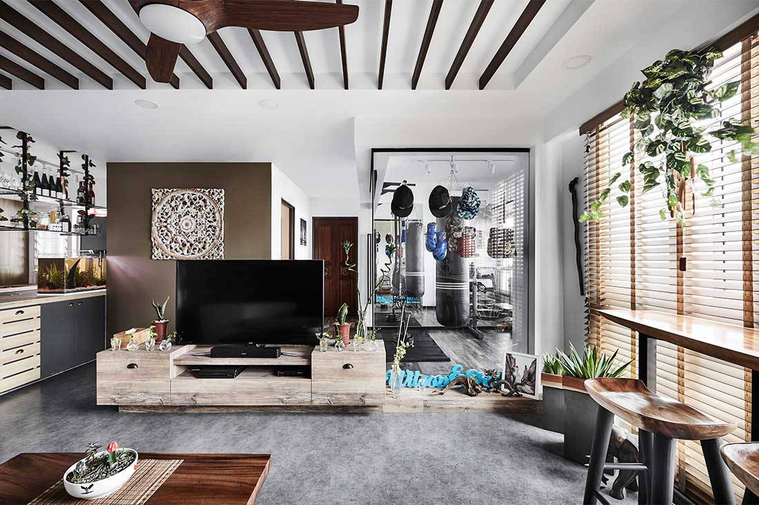 Hdb flat turned resort home with a gym lookboxliving