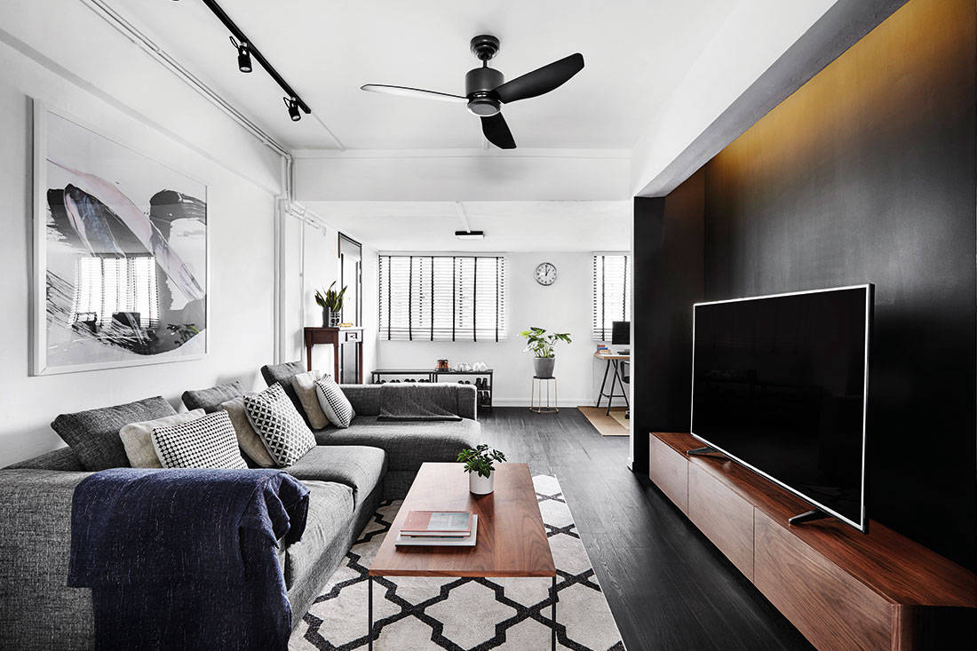 3 Room Flat a chic black-and-white 3-room resale flat