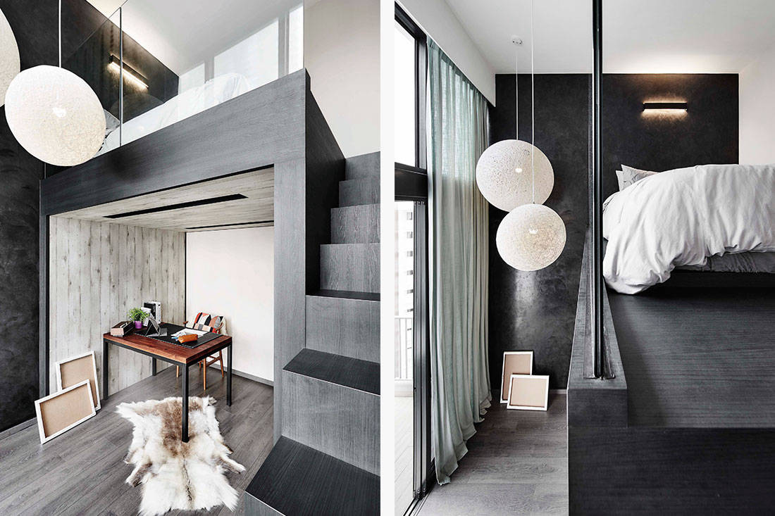 High ceilings have been taken to new heights of chicness by the poetus design team the six metre high ceiling in the shared living and dining area