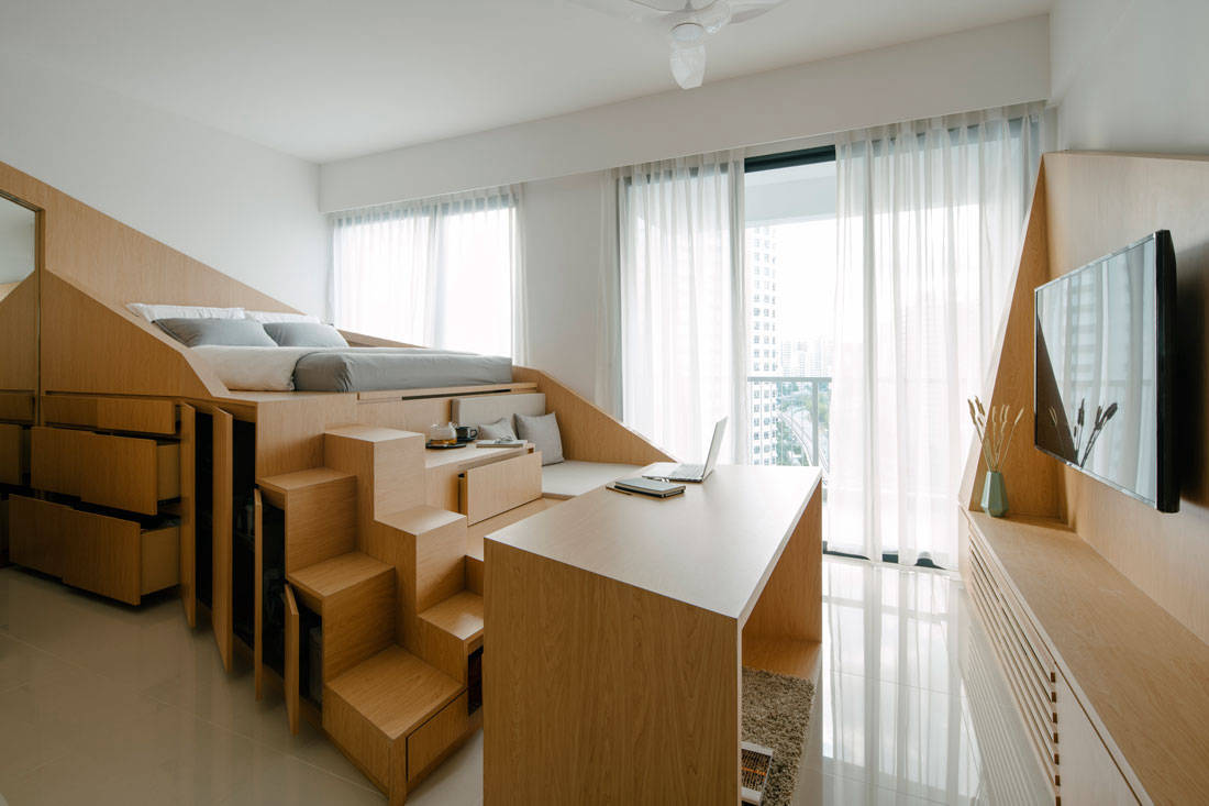 Metre Architects tiny studio apartment living area and bedroom