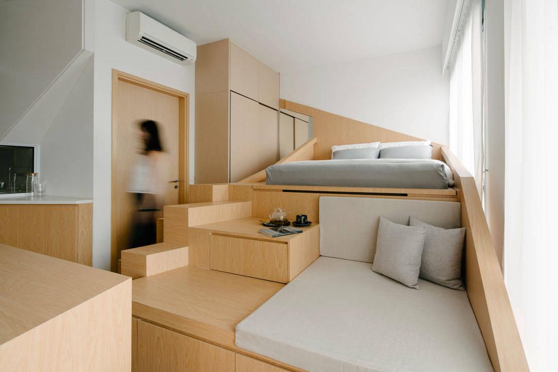 Metre Architects tiny studio apartment loft bed