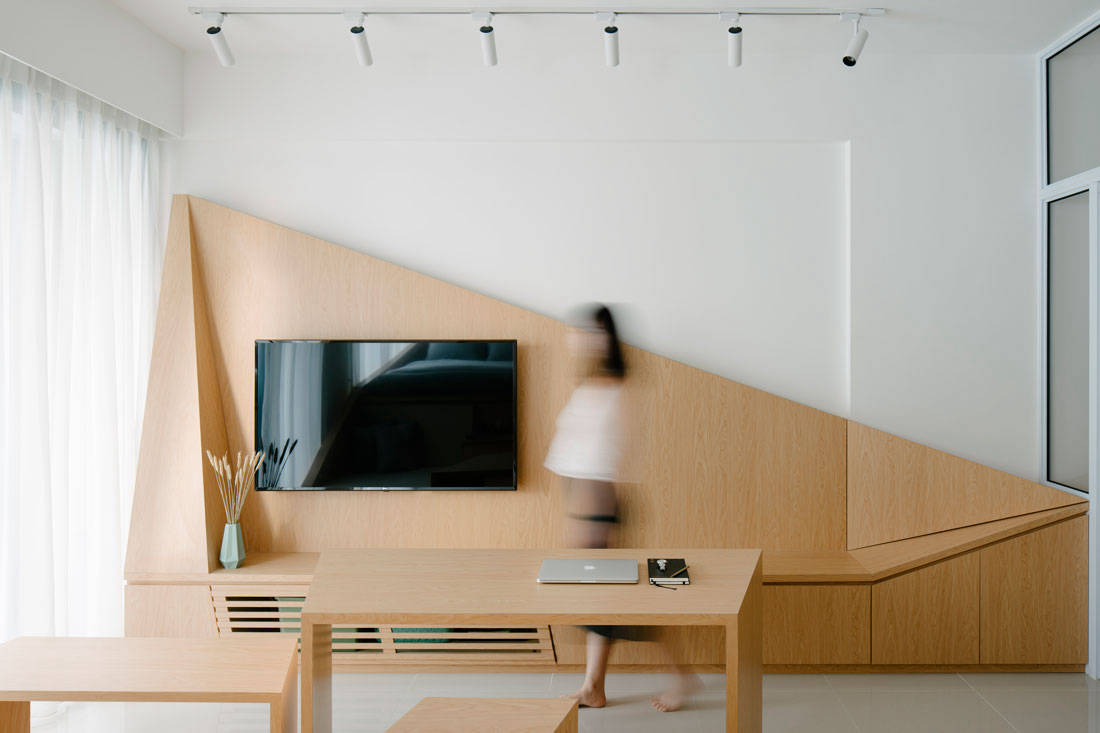 Metre Architects tiny studio apartment living area