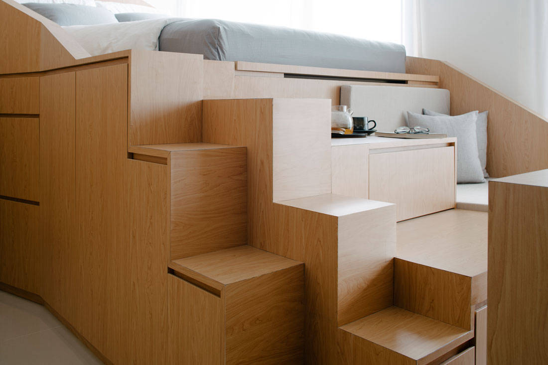 Metre Architects tiny studio apartment sculptural form