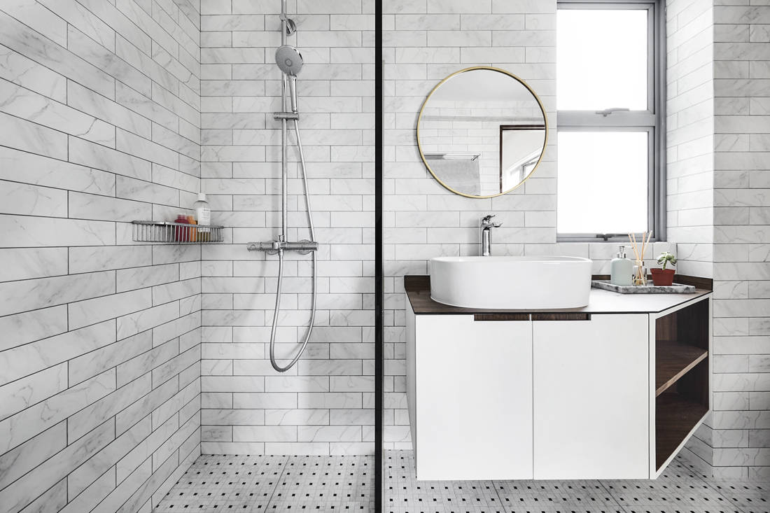 Third Avenue Studio Aquarious by the Park all-white interior bathroom design