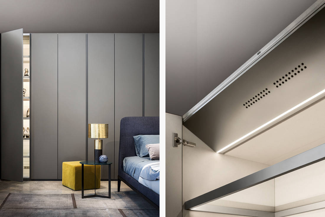 LEMA air cleaning system installed in LEMA wardrobe makes the latter into a multifunctional wardrobe