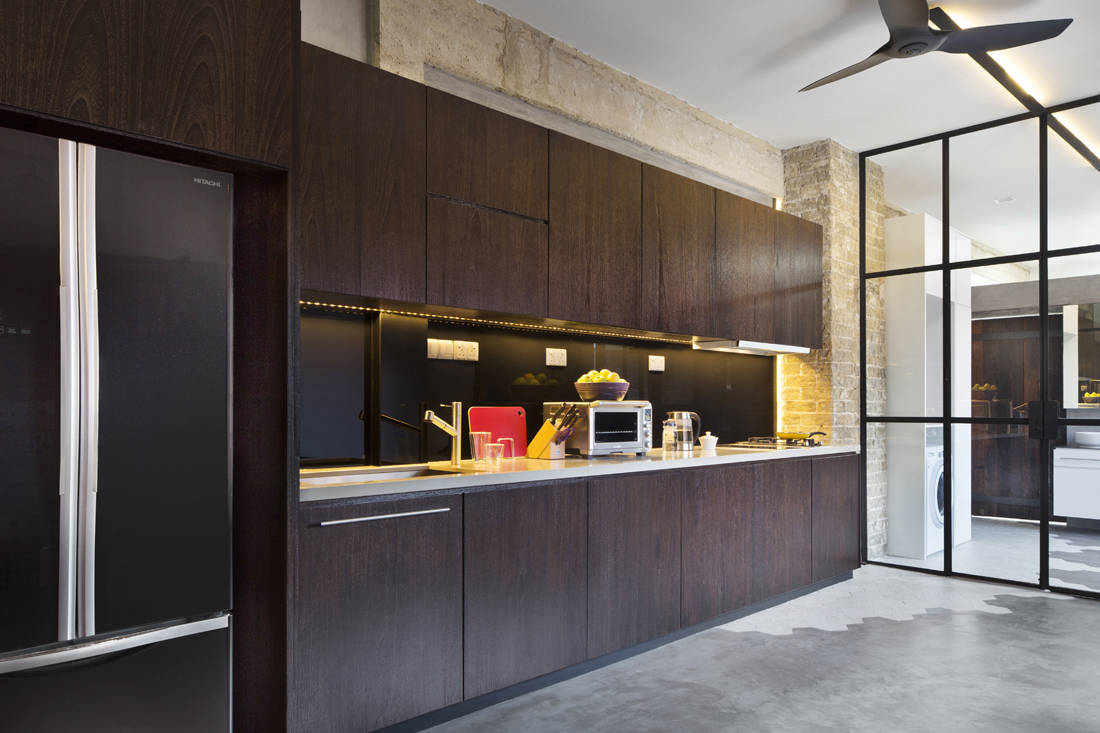 Pre-war apartment turned industrial loft kitchen designed by Prozfile