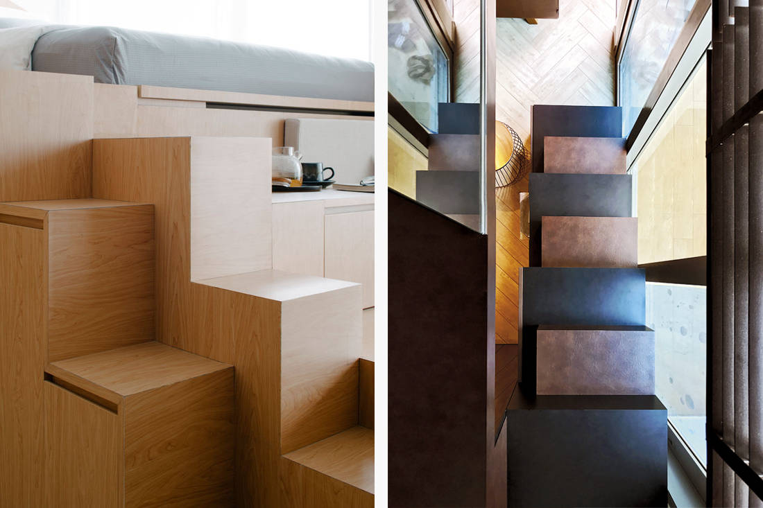 Stairs as storage space designed by Metre Architects and Nest Spatial Design