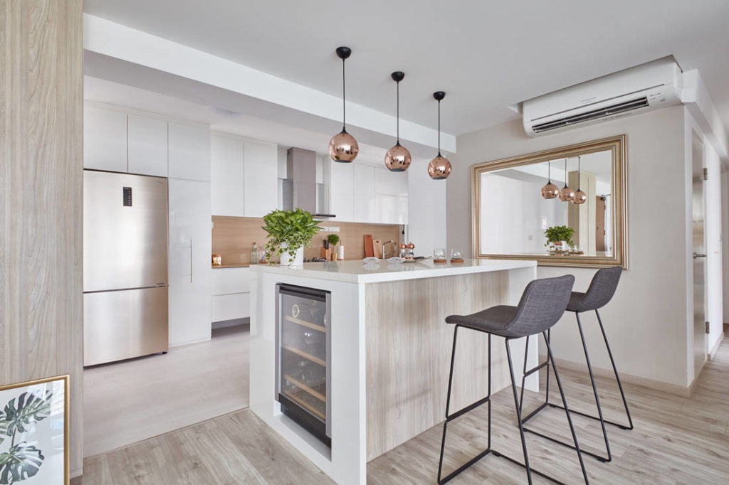 open kitchen island designs integrated wine chiller within the kitchen island create extra storage space in a condo designed 4311
