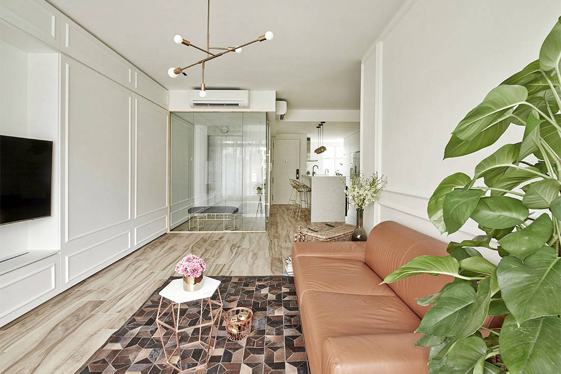 elegantly minimalist Minimology apartment living room