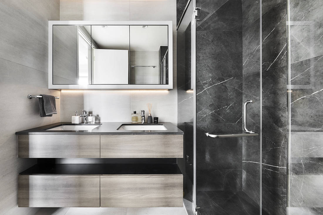 masculine bathroom Reflections at Keppel Bay by Third Avenue Studio