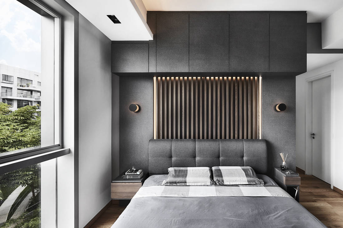 masculine bedroom Reflections at Keppel Bay designed by Third Avenue Studio