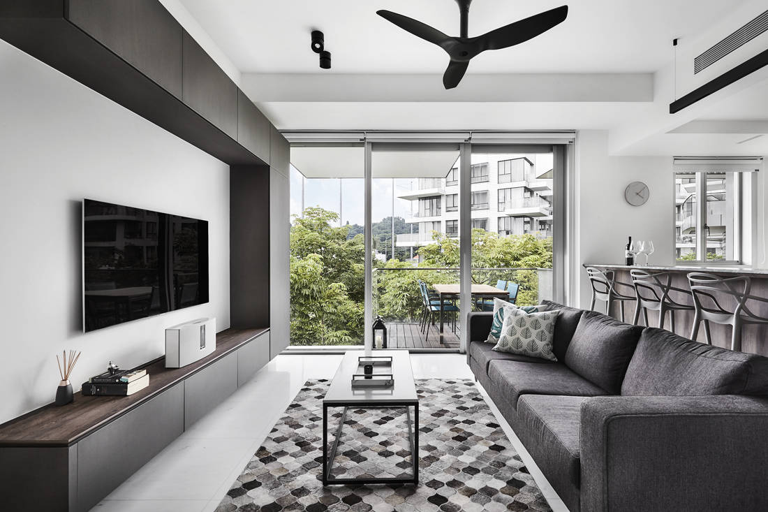 masculine living space Reflections at Keppel Bay designed by Third Avenue Studio