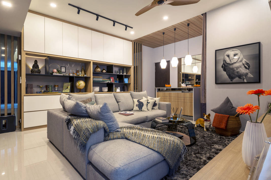 penthouse living area designed by Meter Square