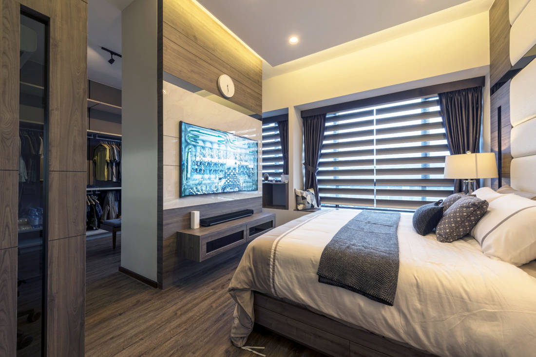 penthouse master bedroom designed by Meter Square