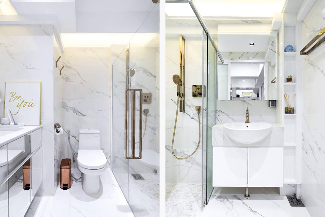 Fineline Design marble details in HDB flat bathroom