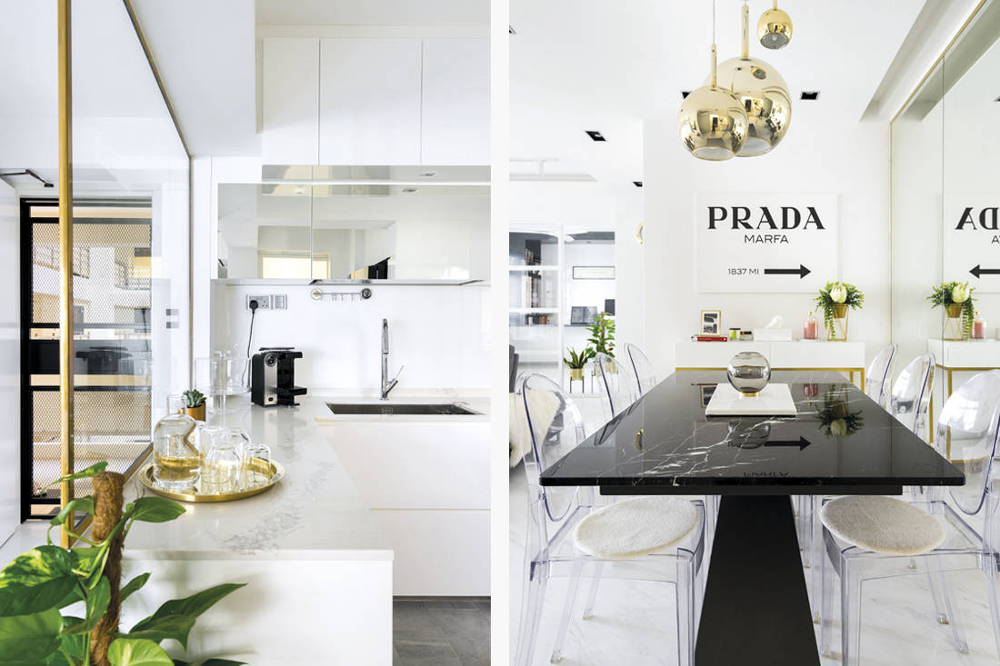 Fineline Design marble details in HDB flat dining and kitchen