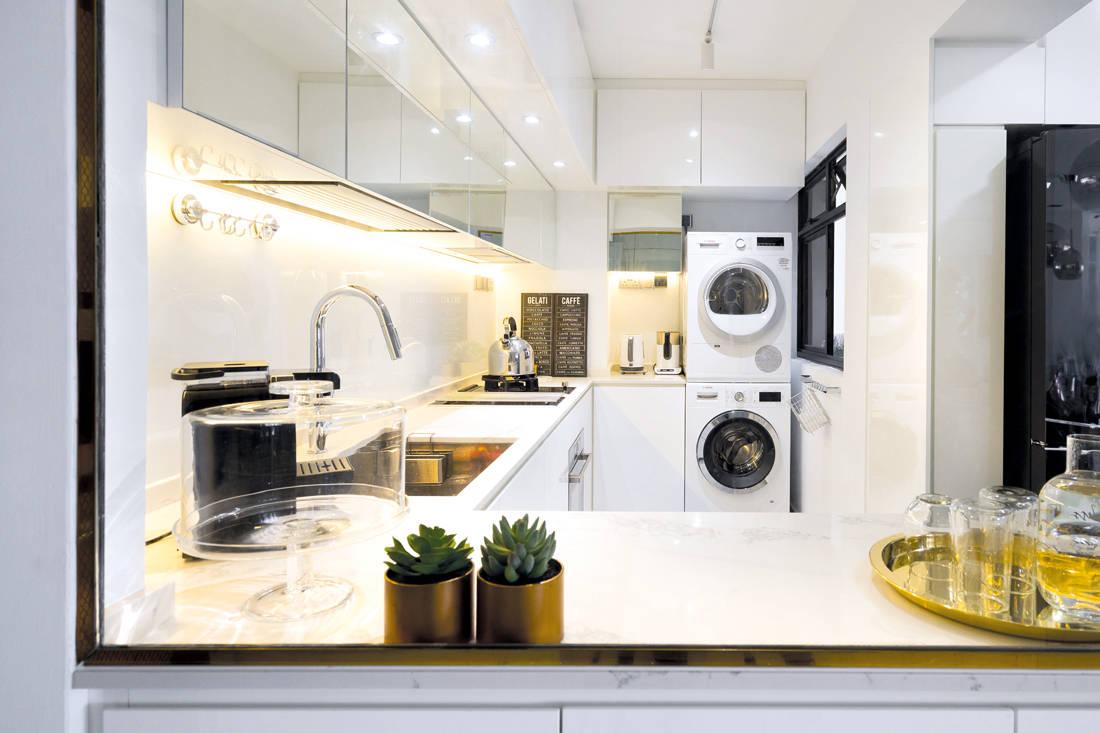 Fineline Design marble details in HDB flat kitchen