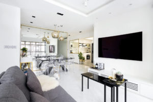 Fineline Design marble details in HDB flat living room