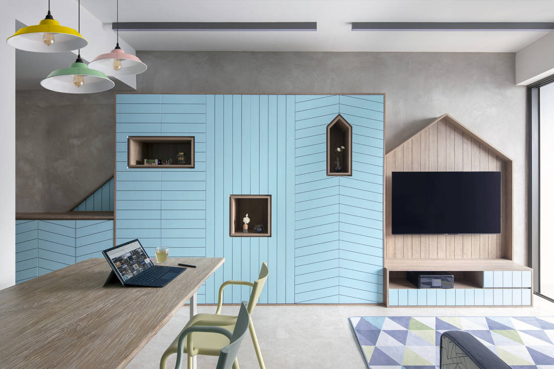 Geometric shapes in condo designed by Versaform