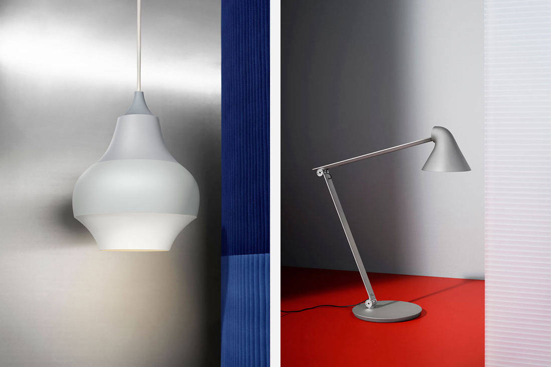 Louis Poulsen Cirque pendant and NJP table lamp shades of grey