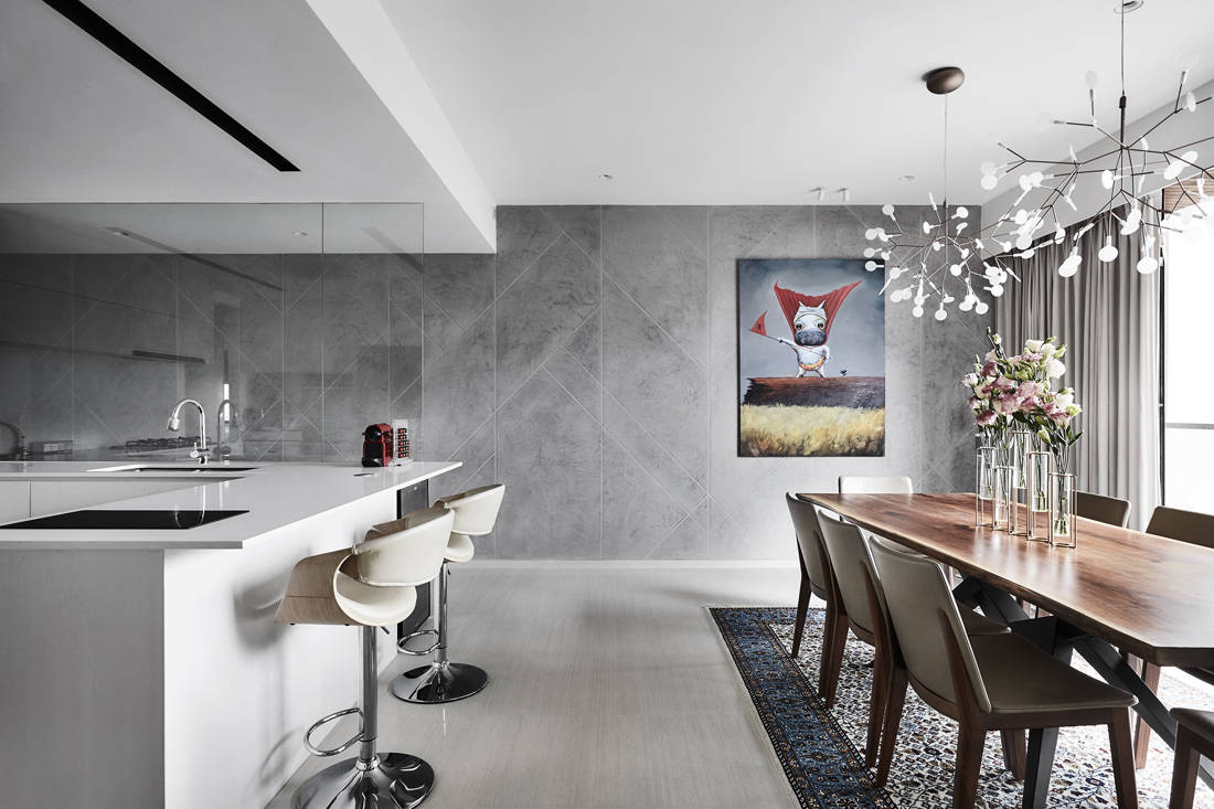 contemporary chic condo kitchen and dining designed by Third Avenue Studio