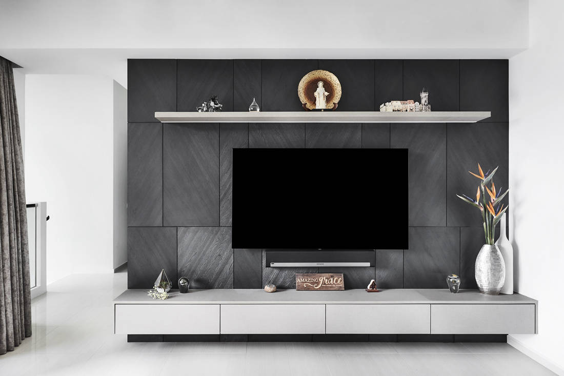 contemporary chic condo penthouse TV feature wall designed by Third Avenue Studio