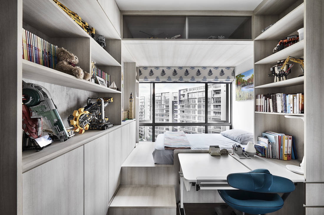 contemporary chic condo penthouse boy's room designed by Third Avenue Studio