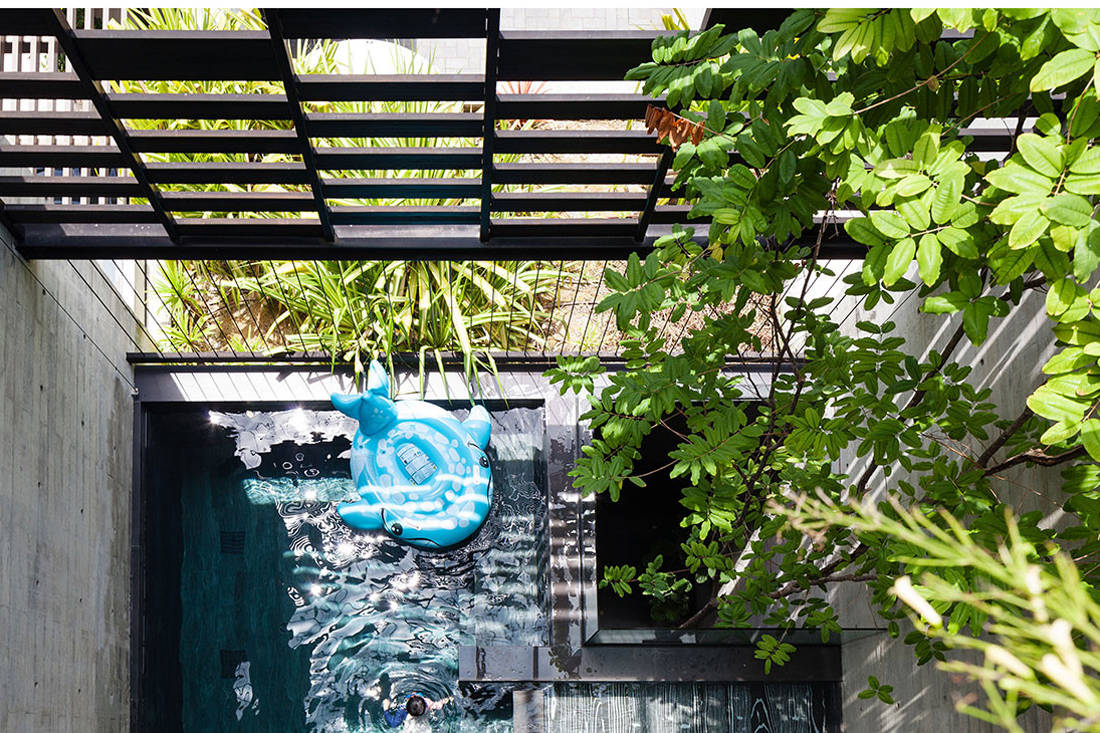 pool and screen of Open House by Formwerkz Architects embraces nature