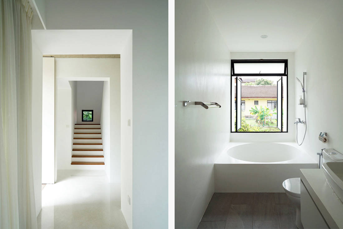 semi-detached house by Fabian Tan Architect - hallway and bathroom