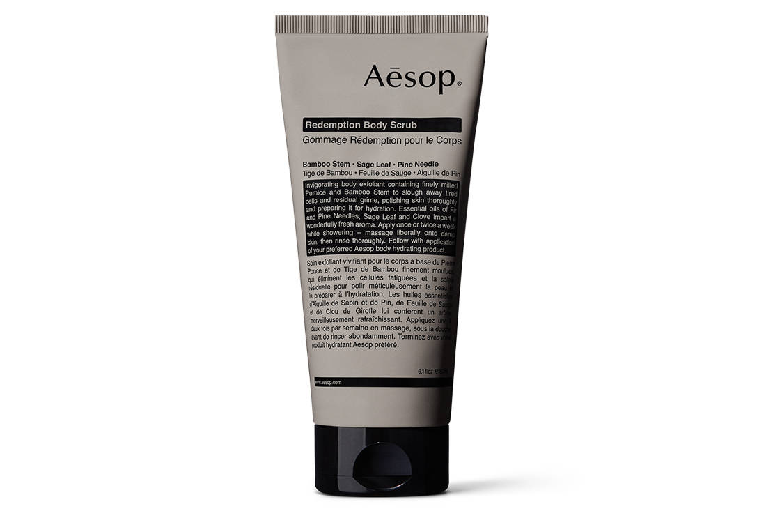 spa experience at home with Aesop Redemption Body Scrub