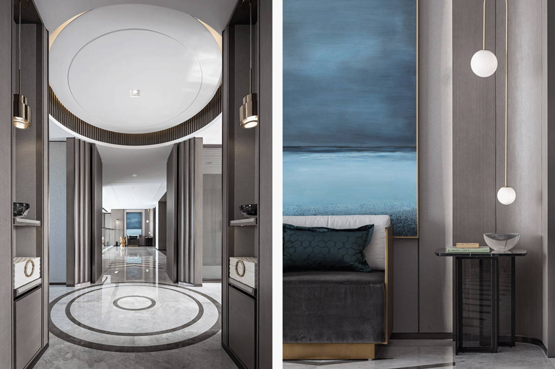 Mangrove Bay Citic Zhuhai penthouse circular entrance by Cheng Chung Design