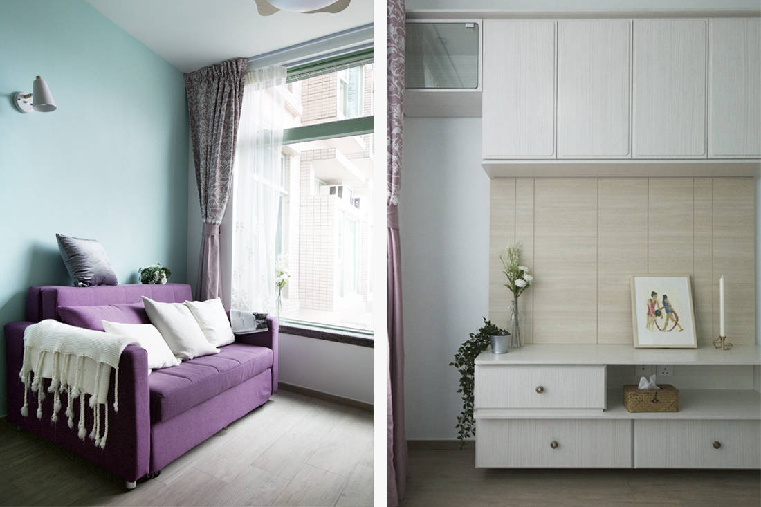 Sim-Plex Design Studio Snow White in Tiffany shoebox apartment living room