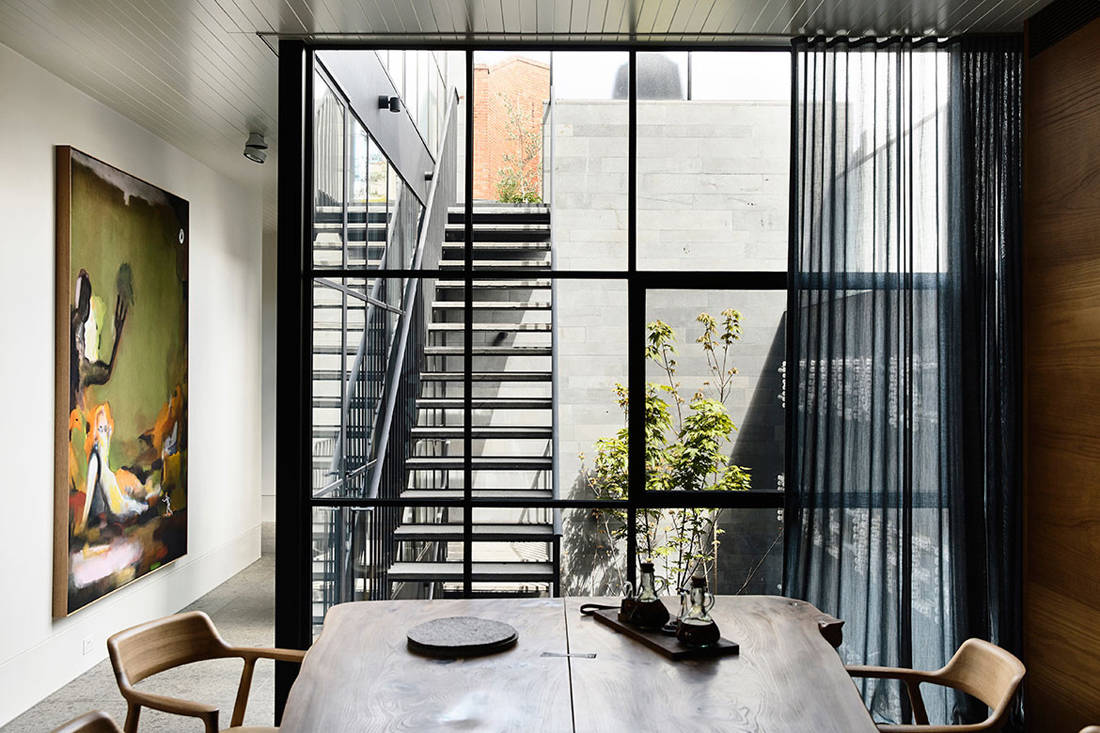 St Vincents Place dining area & courtyard by B.E. Architecture
