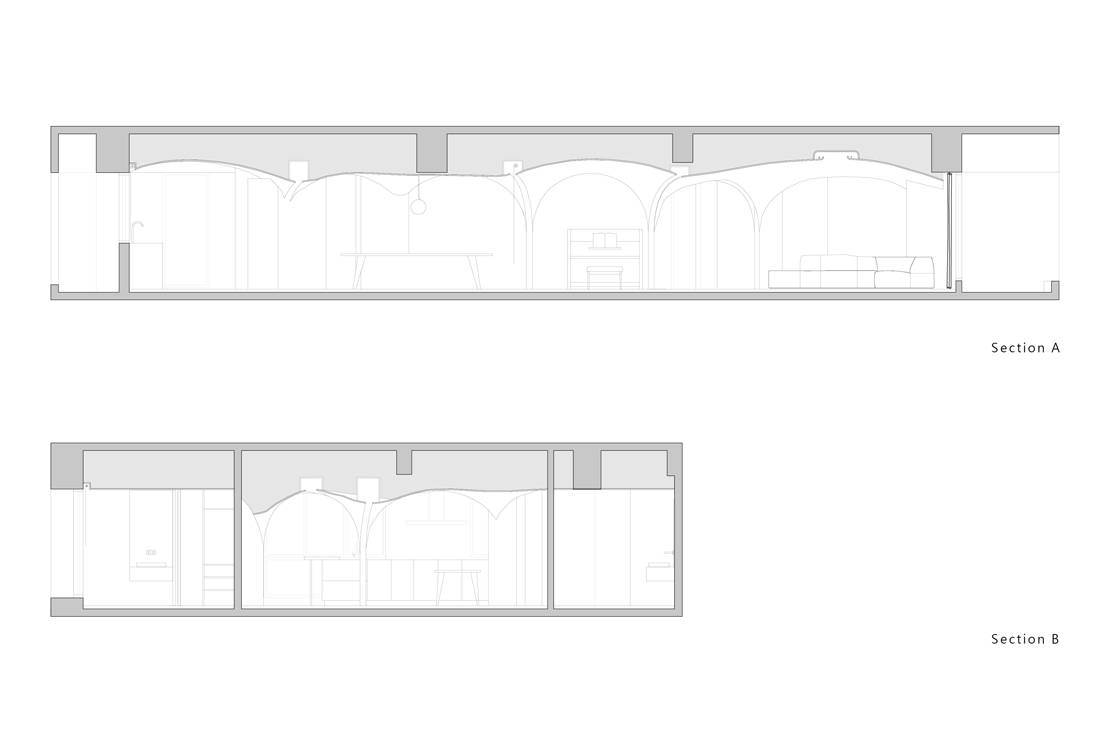 Taiwan apartment - Sunny Apartment by Very Studio Che Wang Architects cross-section plan