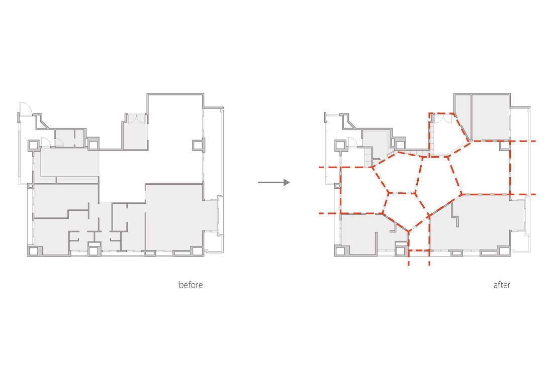 Taiwan apartment - Sunny Apartment by Very Studio Che Wang Architects floor plan before and after