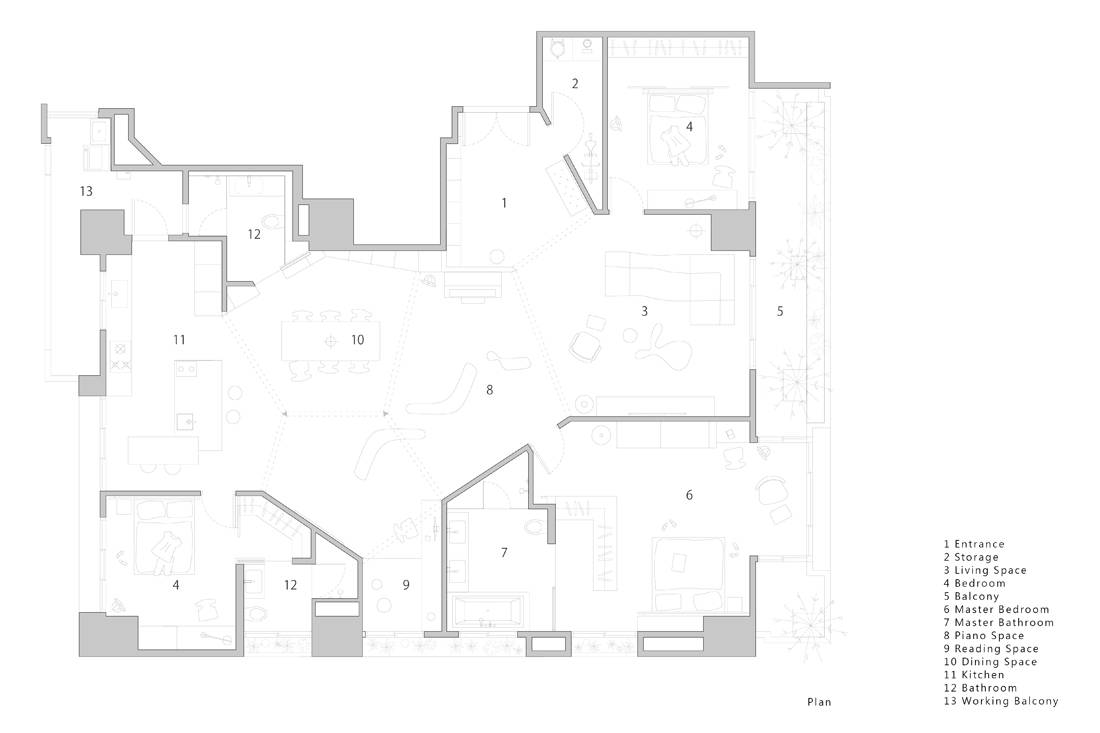 Taiwan apartment - Sunny Apartment by Very Studio Che Wang Architects floor plan