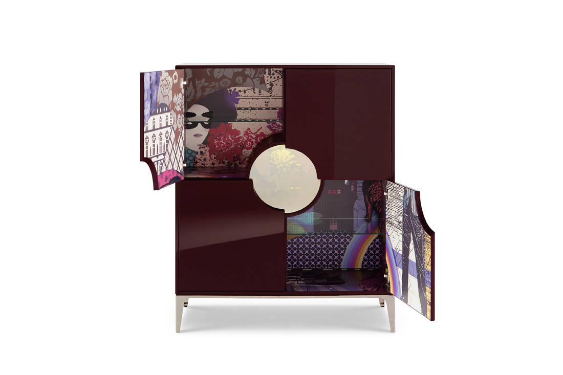 French high-end furniture brand Roche Bobois Globe Trotter collection by Marcel Wanders - Wonder Cabinet