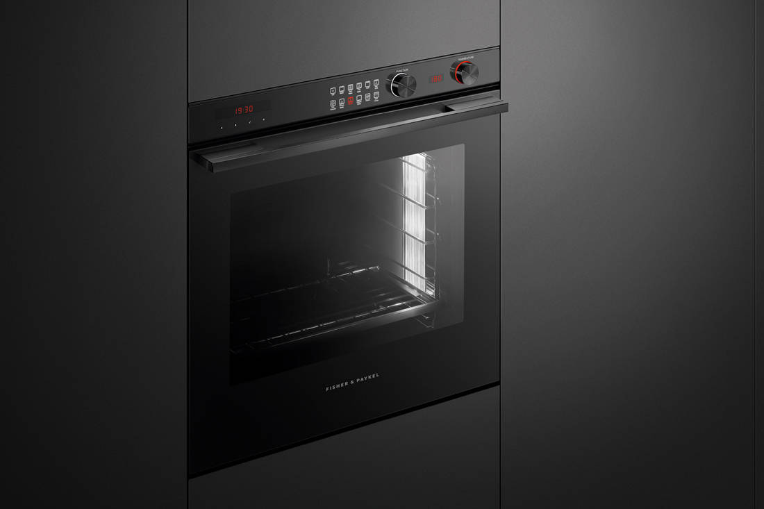 black kitchen appliances - Fisher & Paykel black built-in pyrolytic wall oven