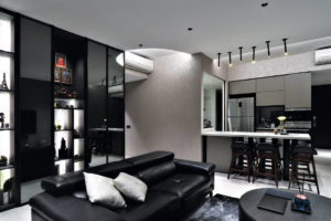 Unity ID D Nest condo masculine touches in living and dining