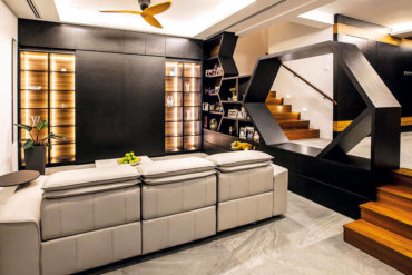 A darkly sophisticated terrace house