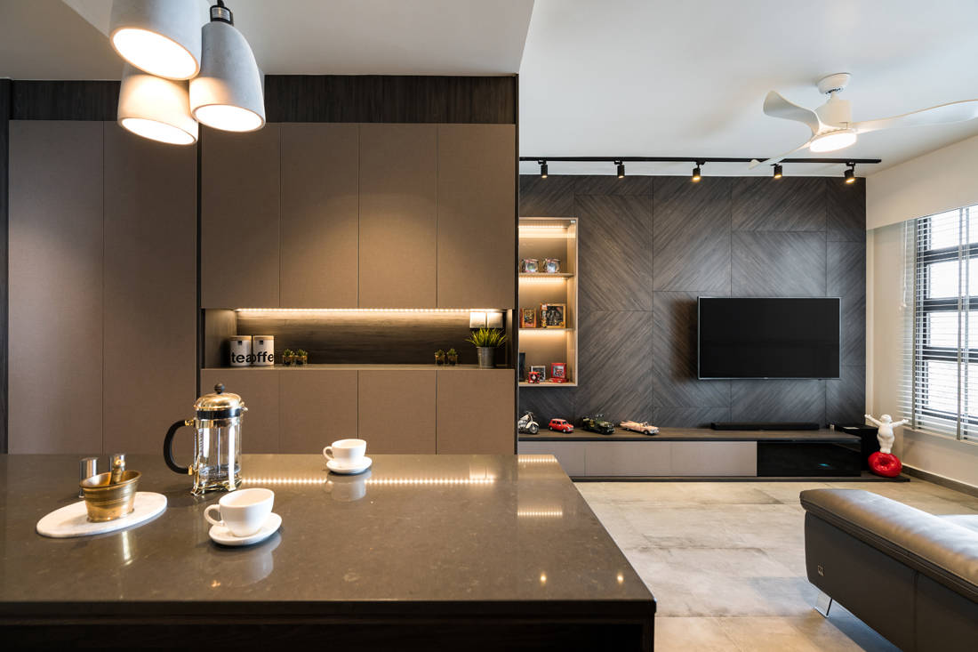 modern contemporary HDB flat living room by Fineline Design