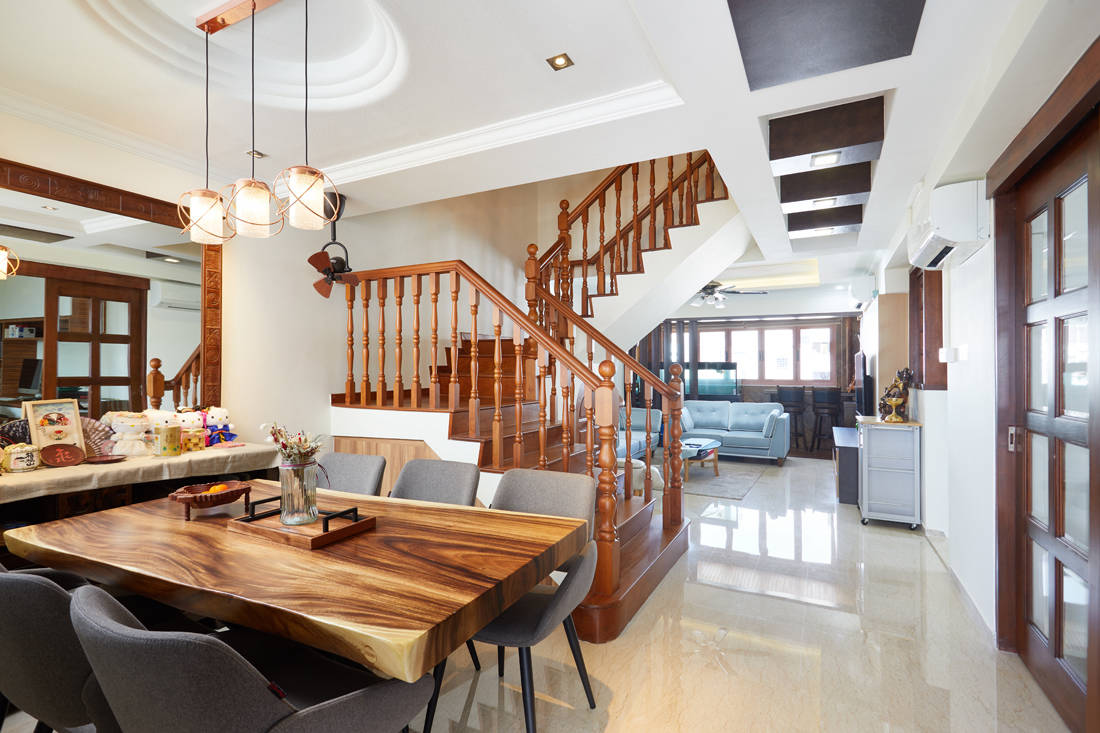 HDB maisonette staircase refreshed with contemporary touches by Design 4 Space