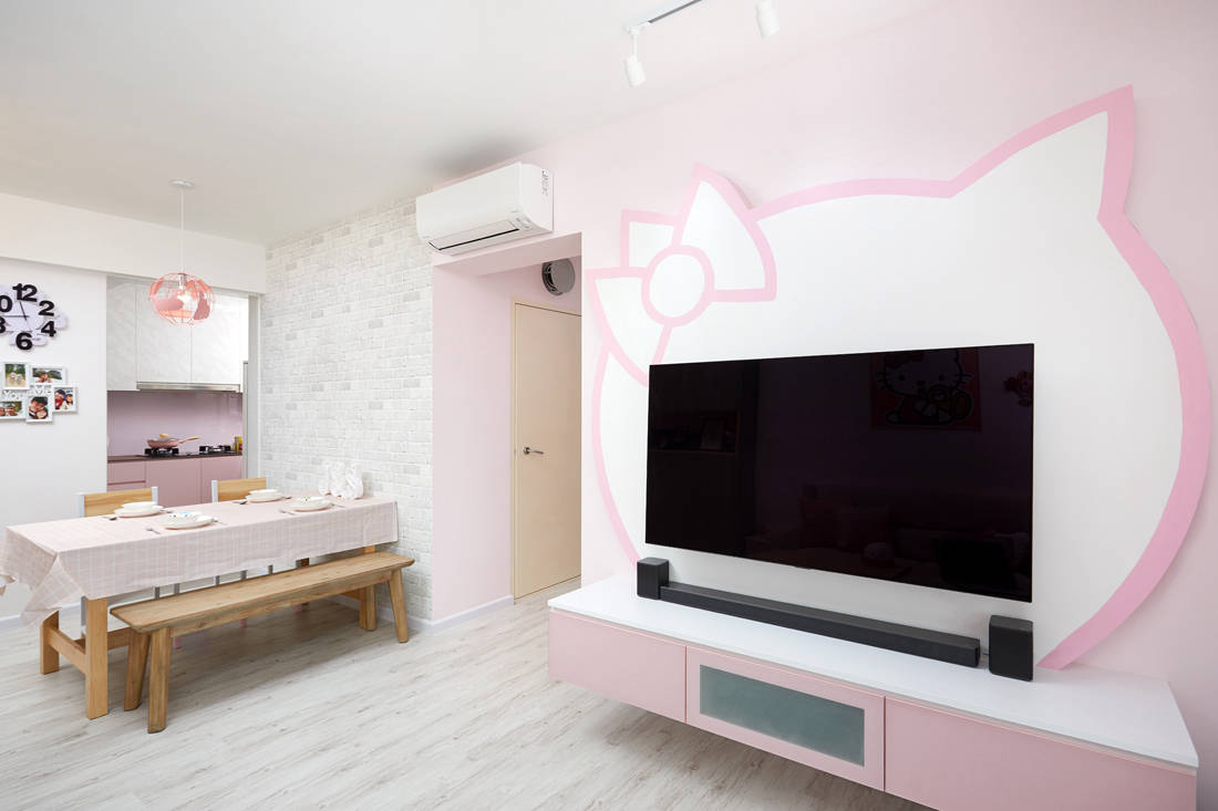Hello Kitty themed HDB BTO flat TV feature wall by Design 4 Space