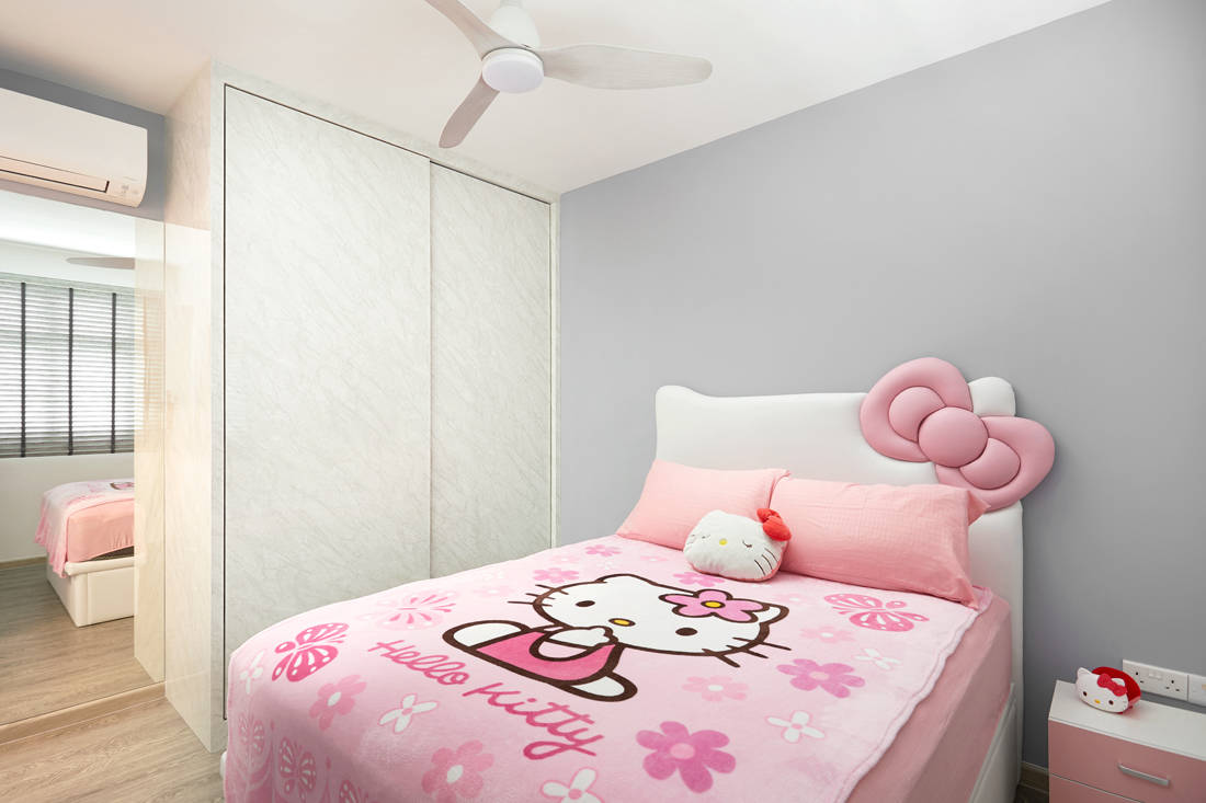 Hello Kitty themed HDB BTO flat bedroom by Design 4 Space
